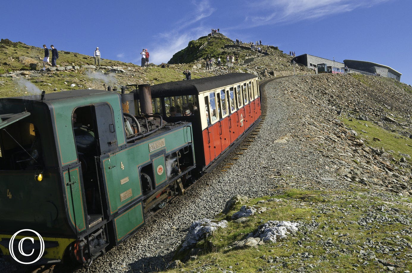 Mountain Railway heading towards the Snowdon (Yr Wyddfa) summit