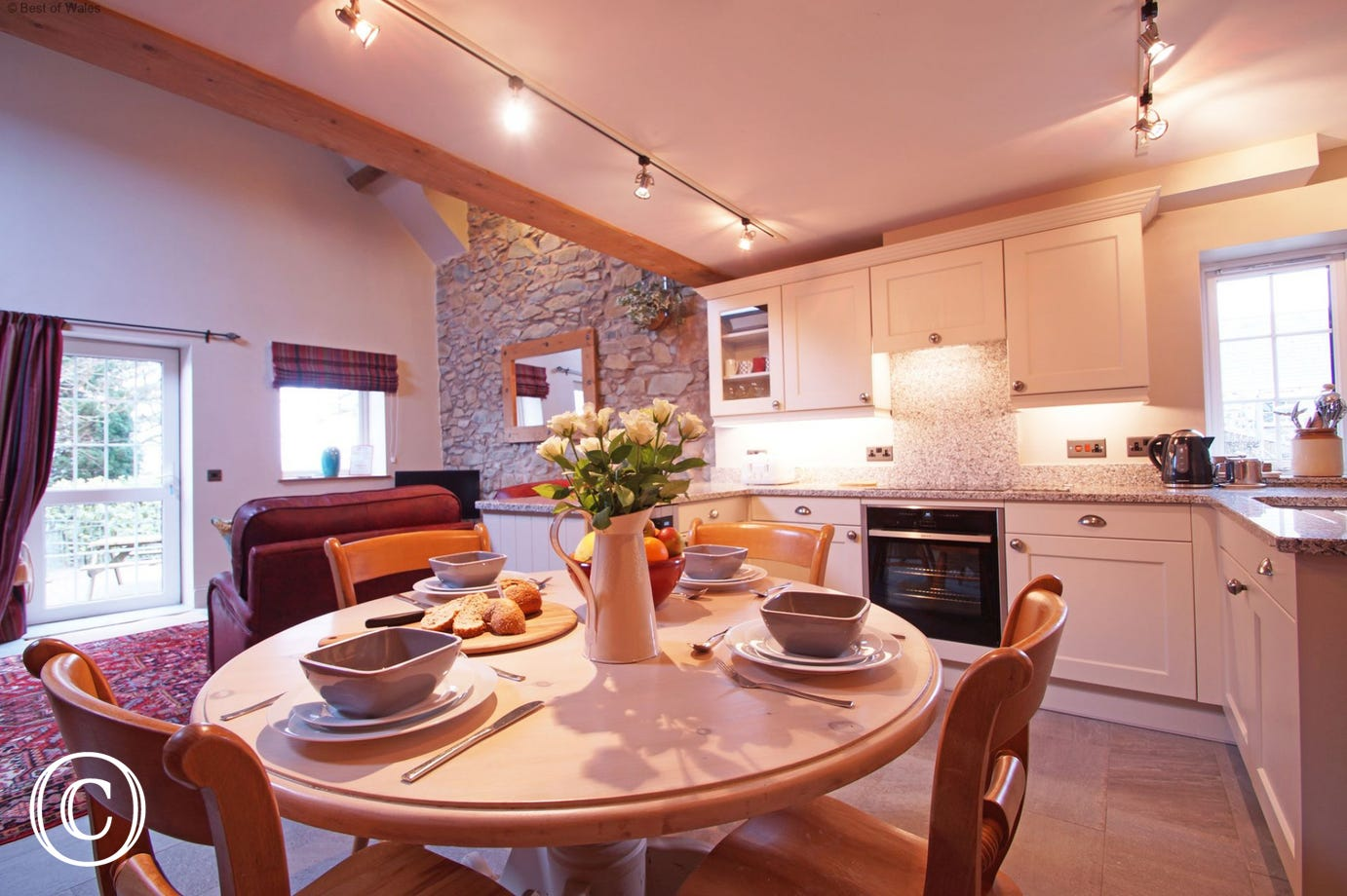 Spacious, open plan living room at Stabal y Sarn 5 star cottage