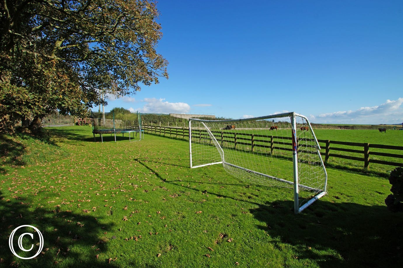 Large enclosed garden includes swings, slide, football goal, playhouse & trampoline